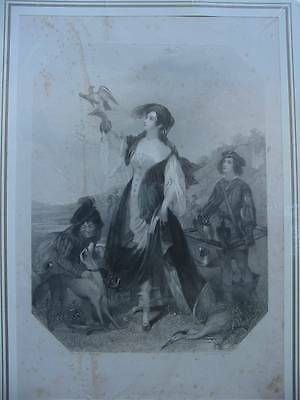86368-Findens Tableaux-England-Falkner-Falconry-Stahlstich-steel engraving