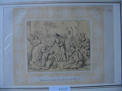 86632-Bibel-Bible-Jesus-Christ-Heilen-mit Ornament-Stahlstich-Steel engraving