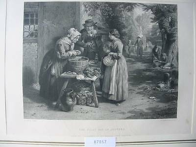 87057-The First Day of Oysters-Austern-nach G.Smith-Stahlstich-engraving