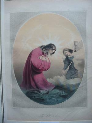 87107-Bibel-Bible-Jesus-Christ-Will be done-Koloriert-Stahlstich-Steelengraving