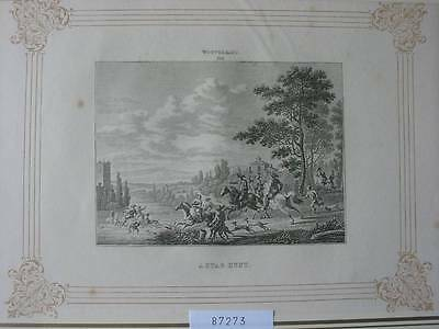 87273-A Stag Hunt-Hirschjagd-nach Wouvermans-Kupferstich-copper engraving