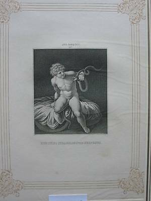 87248-Hercules Strangling the Serpents-Aug.Caracci-Kupferstich-copper engraving