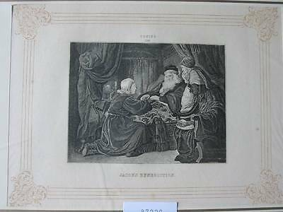 87229-Jacob`s Benediction-nach Coning-Kupferstich-copper engraving