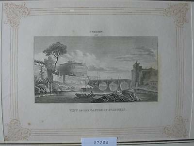 87203-Castle of St.Angelo-Rom-Roma-Rome-nach Vernet-Kupferstich-copper engraving