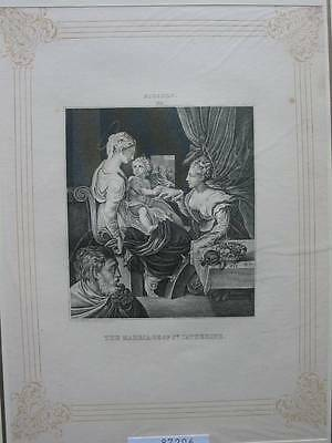 87206-The Marriage of St.Catherine-nach Niccolo-Kupferstich-copper engraving