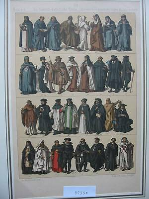 87294-Trachten-Costumes-Kirche-Kloster-Ritter Orden-Lithographie-Lithography