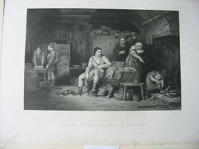87398-Sir David Wilkie-Alfred in the Neatherd`s Cottage-Stahlstich-engraving