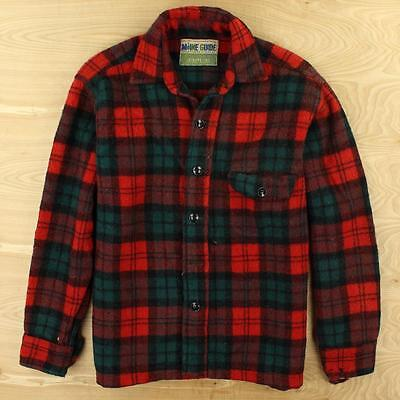 vtg 50's 60's CONGRESS MAIN GUIDE wool shirt LARGE distressed plaid leisure jac