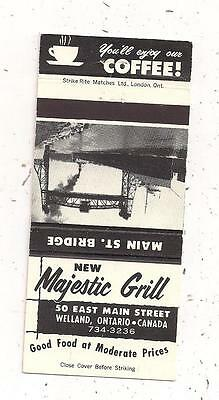 New Majestic Grill 50 East Main Street Welland ON Ontario Matchcover 122815