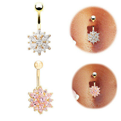 Flower Body Piercing Jewelry Crystal Ball Barbell Bar Belly Button Navel Rings