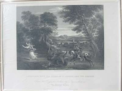 84401-Landscape-Story of St.George-Dragon-Domeni-Stahlstich-steel engraving-1832