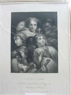 84359-A Study of Heads-Correggio-Stahlstich-steel engraving-1832