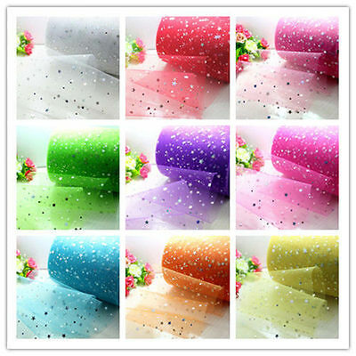 "5/100yd x 6"" Star sequin Spool tulle Bridal Wedding Decoration fabric tutu"