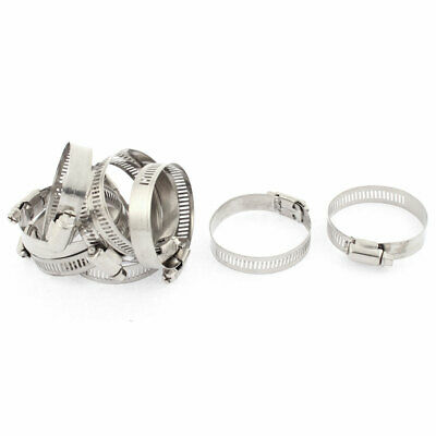 Adjustable 33mm-57mm Range Band Stainless Steel Worm Hose Clip Clamp 10Pcs