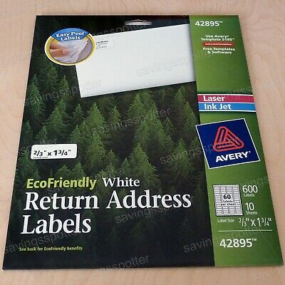Avery 42895 White EcoFriendly Return Address Labels 2/3x1-3/4 Laser/Inkjet 600