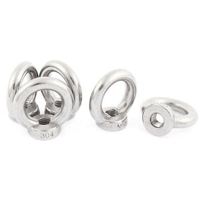 M10 Female Thread 304 Stainless Steel Wire Rope Lifting Eye Nuts Ring 5pcs
