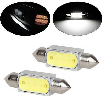 2x White LED License Plate Lights Bulbs 3W F8.4 12V 36mm COB Festoon For Ford