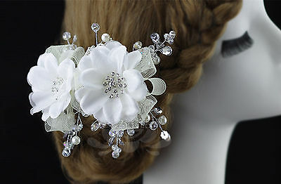 Women Girl Party dance White flower Crystal wedding Bride Bridal Hair Clip PROP