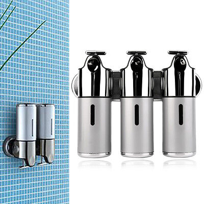 Stainless Steel Bathroom Shampoo Soap Dispenser Wall Mounted 3 Heads Holder GO