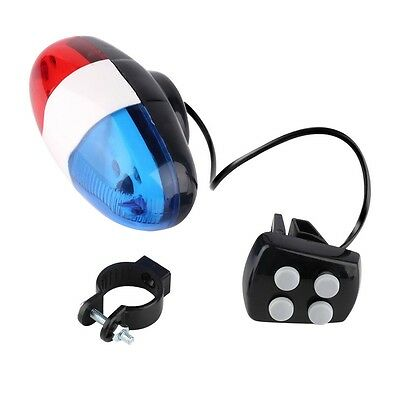 Bike Bicycle Cycling 4 Sounds LED Police Car Siren Electric Light Horn Bell GO