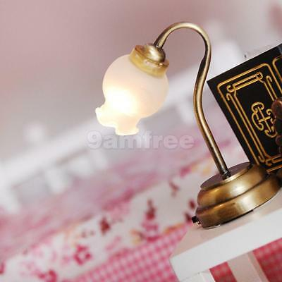 Vintage Doll House Miniature LED Working Tulip Table Lamp Light 1/12th Scale