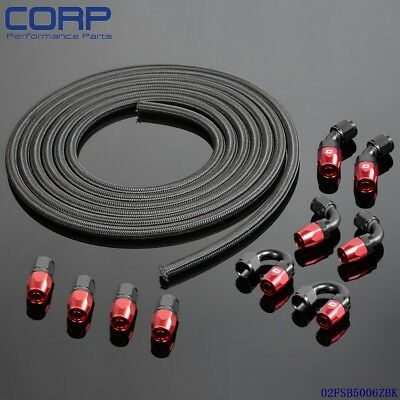 AN6 Stainless Steel Braided  Oil/Fuel Hose + Fitting Hose End Adaptor KIT