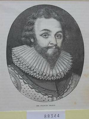 88344-Porträts-Portraits-Sir Francis Drake-T Holzstich-Wood engraving