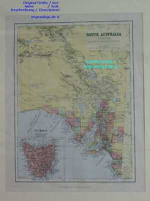 Australien-South Australia-KARTE-MAP-1890-27x20cm-Lithographie-Lithography