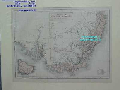 Australien-Australia-VICTORIA-NEW SOUTH WALES-38x27cm-Stahlstich-Steel engraving
