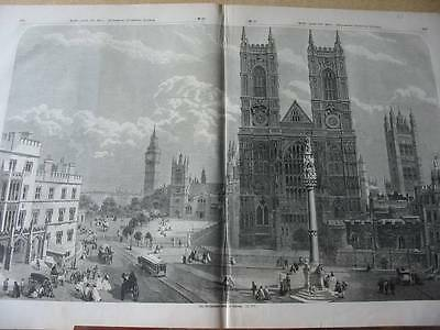 England-London-Westminster Abbey-51x32 cm-T-Holzstich-Wood engraving-N1874