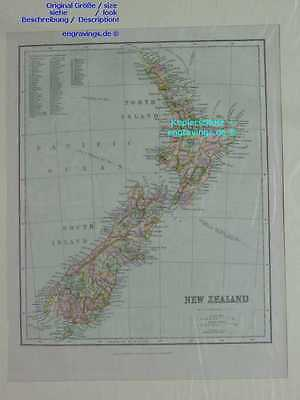 Neuseeland-New Zealand-KARTE-MAP-1890-25x20 cm-Lithographie-Lithography