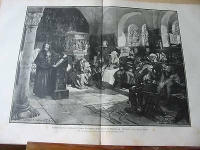 Martin Luther-Wartburg-42x31 cm-T-Holzstich-Wood engraving