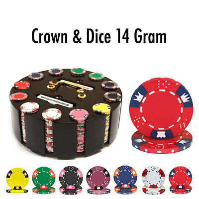300-Count Custom Crown and Dice 14 gram Clay Poker Chip Set w/ Wooden Carousel
