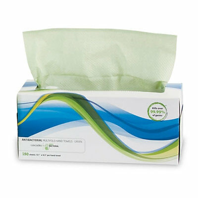 Antibacterial Multifold Towel in Pop-Up Box, Green, 24 boxes x 150 = 3600 Sheets