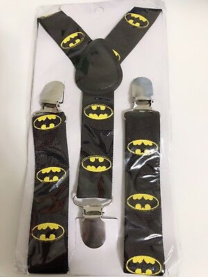 Kid Child Boy Costume Party black Batman Super hero Brace Elastic Suspender PROP