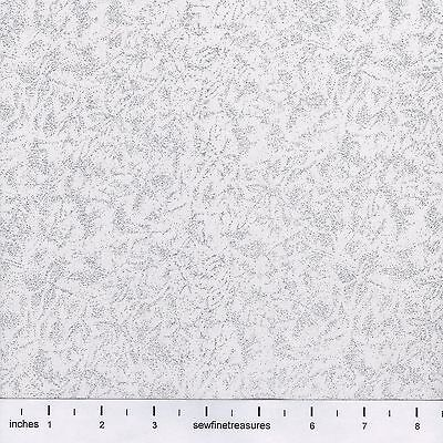 Fairy Frost ZIRCONIUM GLITZ White with Silver GLITTER Fabric By the FQ - 1/4 YD