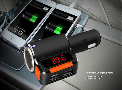 Bluetooth Dual USB LCD Audio Car Kit MP3 FM Transmitter Charger For iPhone iPod