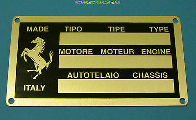 FERRARI ENGINE CHASSIS ID PLATE NEW & RARE 90 x 50 mm