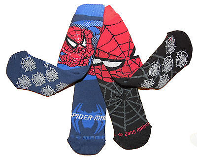 Spider-man slipper socks 3-5.5 1-2 years Two Pairs with none slip bottoms