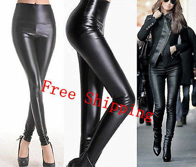 Lady High Waisted Women's Sexy Faux Leather Stretch Skinny Pants Slim Leggings