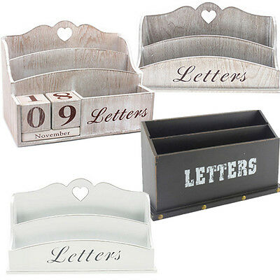 Letter Rack Shabby Chic Tray Organiser Desk Home Perpetual Wood Gift Holder New