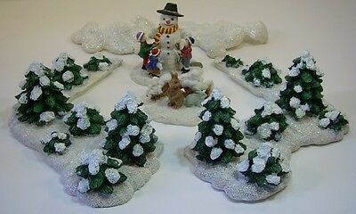 Christmas Village Accessories.6 Pc Christmas Village Accessories Trees Snow Garden Snowman By Burns Conahan