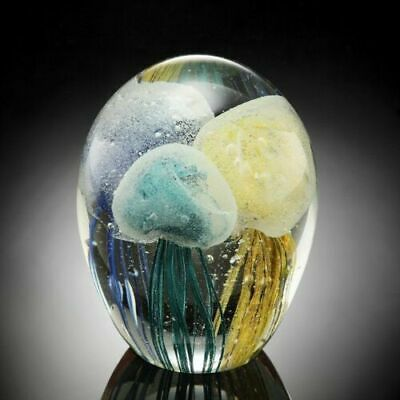Hand Blown Glass Art Glow In The Dark Tri Colored Jellyfish Paperweight Figurine