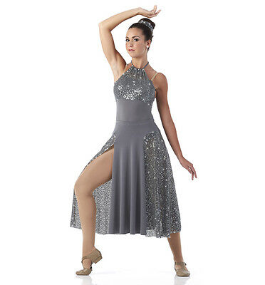 Silver Panel Lyrical Dance Dress Costume Chained Girls 6X7,CL
