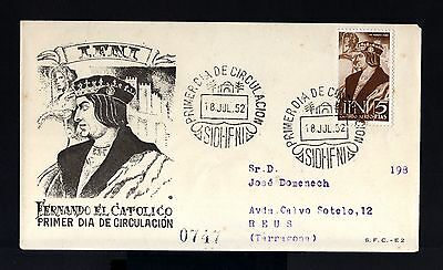 7877-SPANISH IFNI-EXCOLONIAS ESPAÑOLAS-FDC.REGISTERED COVER.1952.SPAIN colonies.