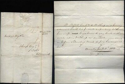 1815 BELFORD Postmarked letter  Pre Paid 4d Beanley Village  to Thorp of Alnwick