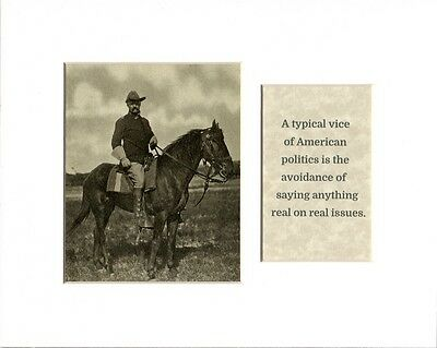 Teddy Roosevelt Horseback Photo & Quote Vice American Politics Matted Easel Back
