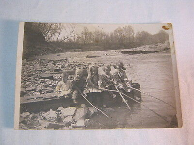 Old Photo Postcard showing group of children next to river  T*