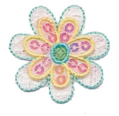 Yellow White Flower Embroidery Patch w/ Sequin