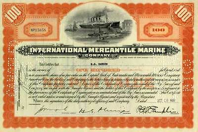CRISP CLEAN TITANIC STOCK w ENGRAVED OCEAN LINER! RARE HISTORIC ORANGE 100sh GEM